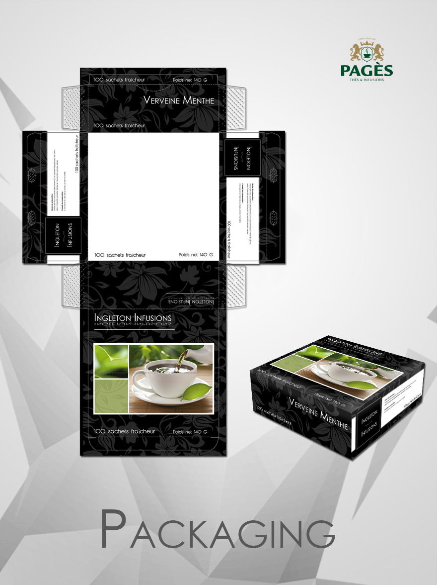 Création du packaging pour les infusions Ingleton de PAGÈS