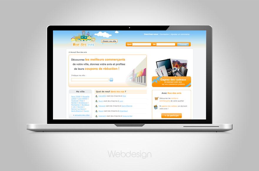 web design pour le site web lyonnais Rue des avis